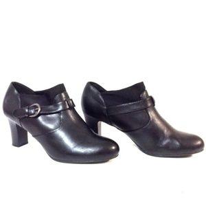 DRESSBARN 11W Black Slip On Buckle Shoe Heels NEW